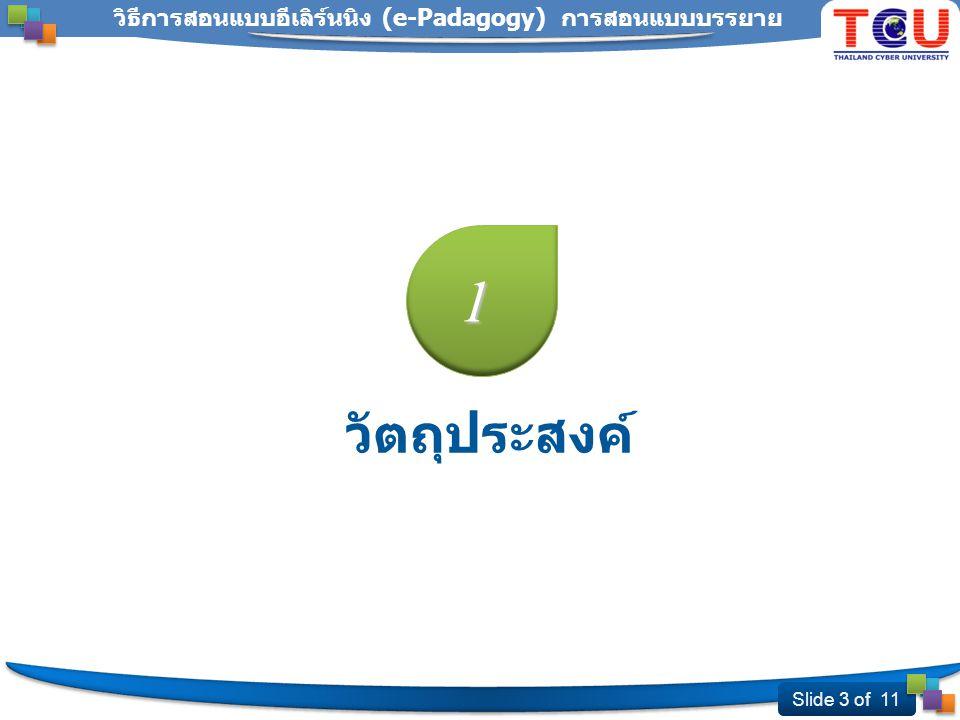 Slide 4 of 11 วิธีการสอนแบบอีเลิร์นนิง (e-Padagogy) การสอนแบบบรรยาย การสอนออนไลน์แบบบรรยาย สาร & สื่อ ผู้ส่งสาร Feedback www.ThaiCyberU.go.th Thailand Cyber University Project ผู้รับสาร