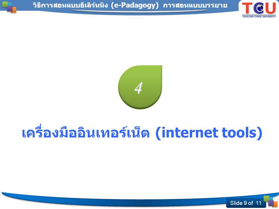 Slide 9 of 11 วิธีการสอนแบบอีเลิร์นนิง (e-Padagogy) การสอนแบบบรรยาย 4 เครื่องมืออินเทอร์เน็ต (internet tools)