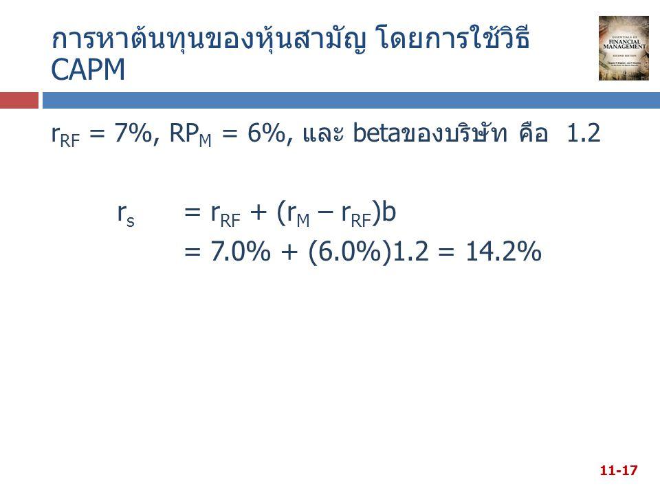 การหาต้นทุนของหุ้นสามัญ โดยการใช้วิธี CAPM r RF = 7%, RP M = 6%, และ betaของบริษัท คือ 1.2 r s = r RF + (r M – r RF )b = 7.0% + (6.0%)1.2 = 14.2% 11-17