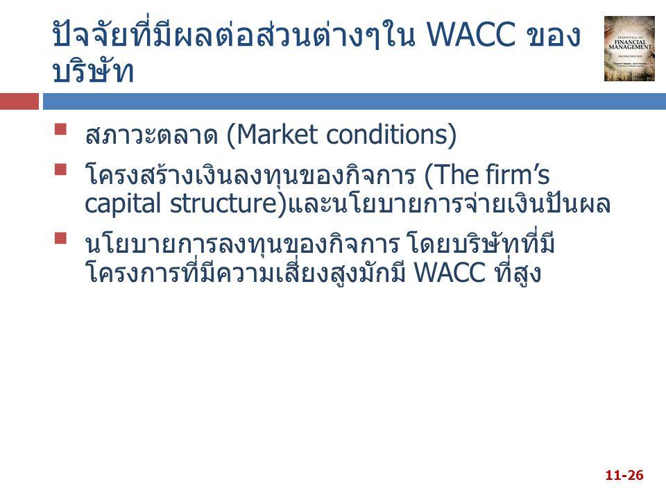 ปัจจัยที่มีผลต่อส่วนต่างๆใน WACC ของ บริษัท  สภาวะตลาด (Market conditions)  โครงสร้างเงินลงทุนของกิจการ (The firm's capital structure)และนโยบายการจ่ายเงินปันผล  นโยบายการลงทุนของกิจการ โดยบริษัทที่มี โครงการที่มีความเสี่ยงสูงมักมี WACC ที่สูง 11-26
