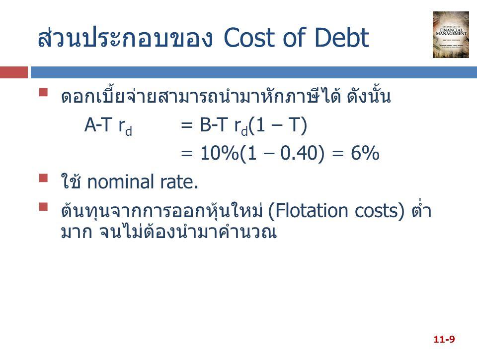 ส่วนประกอบของ Cost of Debt  ดอกเบี้ยจ่ายสามารถนำมาหักภาษีได้ ดังนั้น A-T r d = B-T r d (1 – T) = 10%(1 – 0.40) = 6%  ใช้ nominal rate.