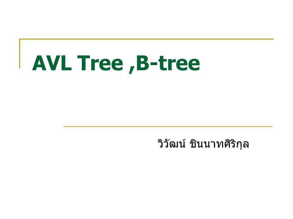 AVL Tree,B-tree วิวัฒน์ ชินนาทศิริกุล