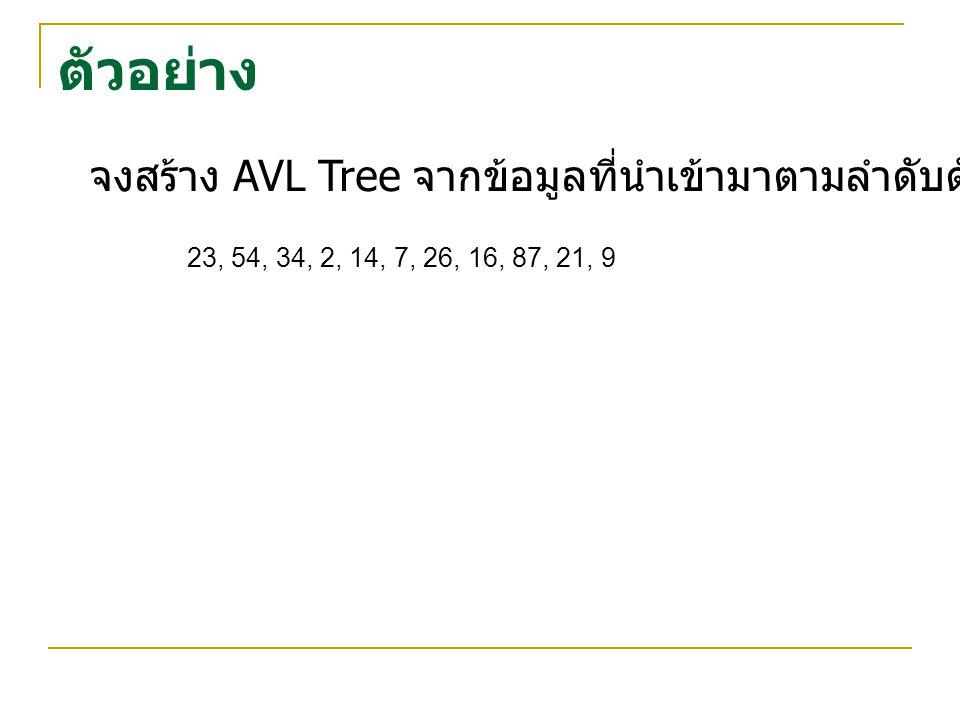 ตัวอย่าง จงสร้าง AVL Tree จากข้อมูลที่นำเข้ามาตามลำดับดังต่อไปนี้ 23, 54, 34, 2, 14, 7, 26, 16, 87, 21, 9