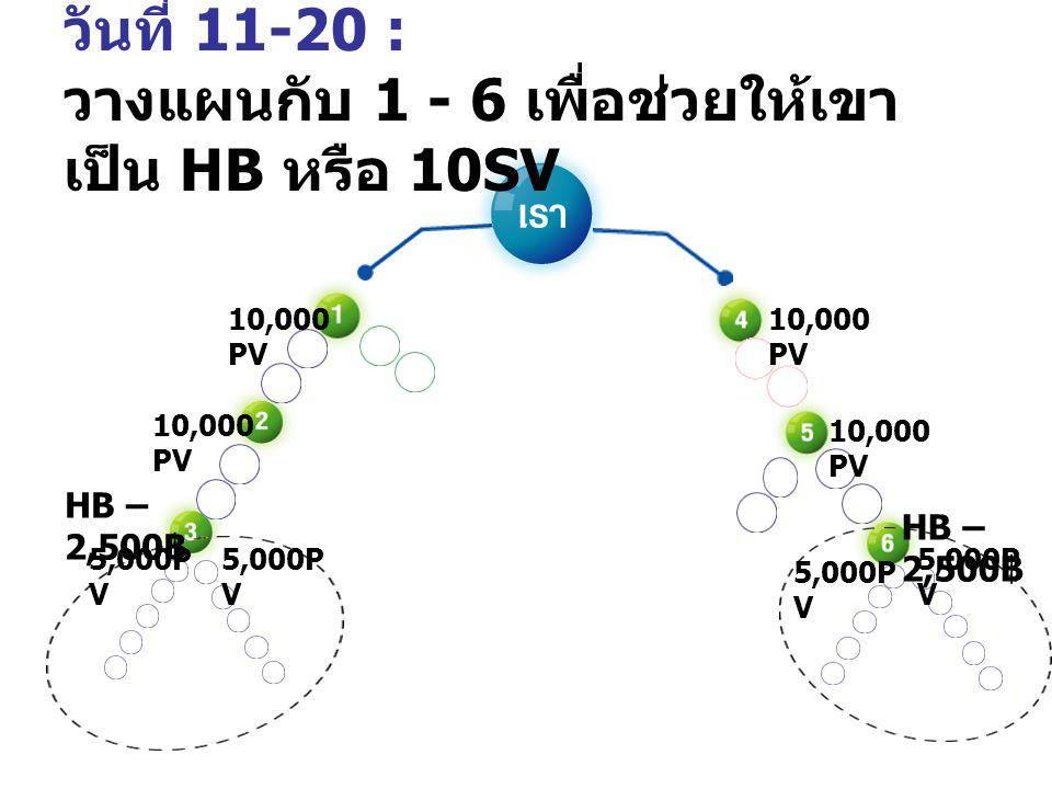 วันที่ 11-20 : วางแผนกับ 1 - 6 เพื่อช่วยให้เขา เป็น HB หรือ 10SV 5,000P V HB – 2,500 ฿ 5,000P V HB – 2,500 ฿ 10,000 PV
