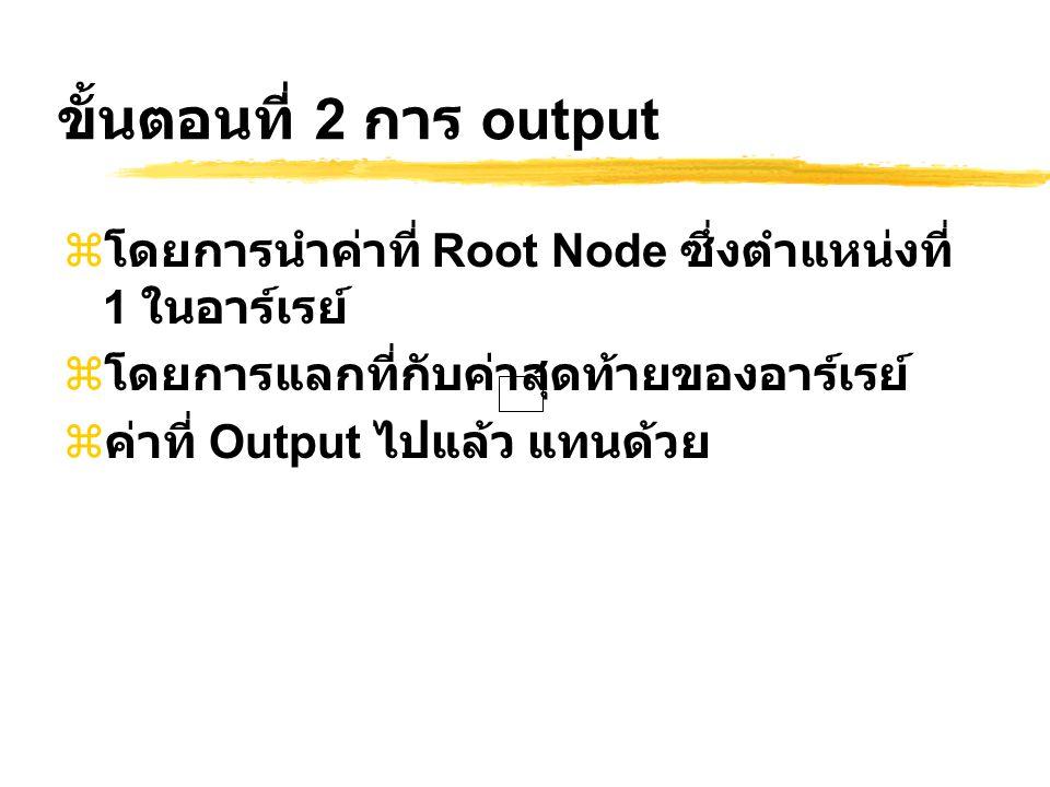 ขั้นตอนที่ 2 การ output  โดยการนำค่าที่ Root Node ซึ่งตำแหน่งที่ 1 ในอาร์เรย์  โดยการแลกที่กับค่าสุดท้ายของอาร์เรย์  ค่าที่ Output ไปแล้ว แทนด้วย