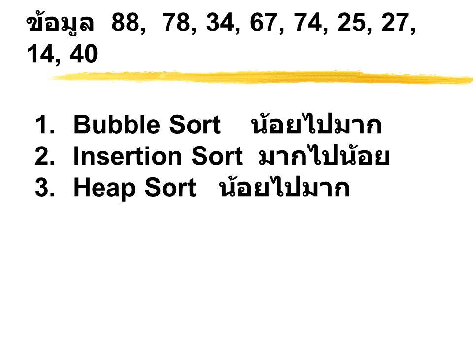 ข้อมูล 88, 78, 34, 67, 74, 25, 27, 14, 40 1.Bubble Sort น้อยไปมาก 2.Insertion Sort มากไปน้อย 3.Heap Sort น้อยไปมาก