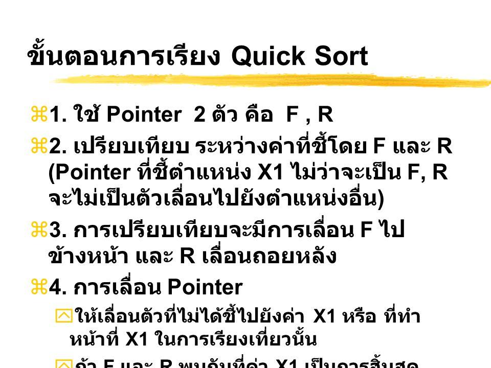 ขั้นตอนการเรียง Quick Sort  1. ใช้ Pointer 2 ตัว คือ F, R  2. เปรียบเทียบ ระหว่างค่าที่ชี้โดย F และ R (Pointer ที่ชี้ตำแหน่ง X1 ไม่ว่าจะเป็น F, R จะ