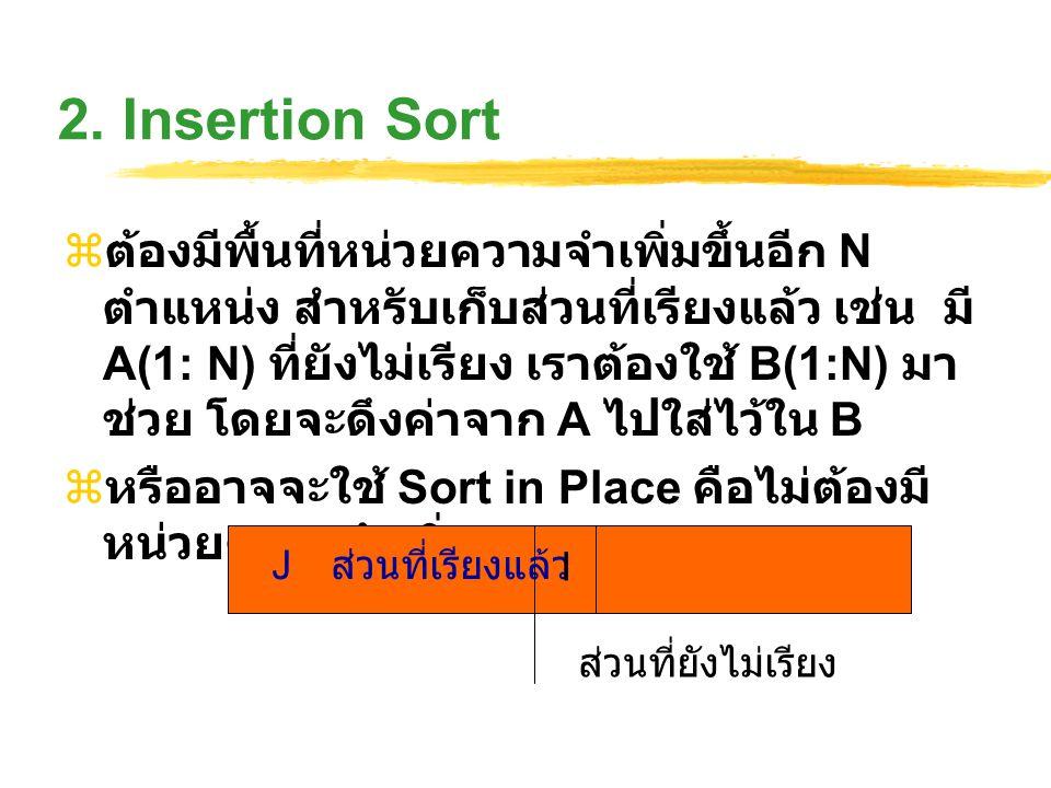 2. Insertion Sort  ต้องมีพื้นที่หน่วยความจำเพิ่มขึ้นอีก N ตำแหน่ง สำหรับเก็บส่วนที่เรียงแล้ว เช่น มี A(1: N) ที่ยังไม่เรียง เราต้องใช้ B(1:N) มา ช่วย
