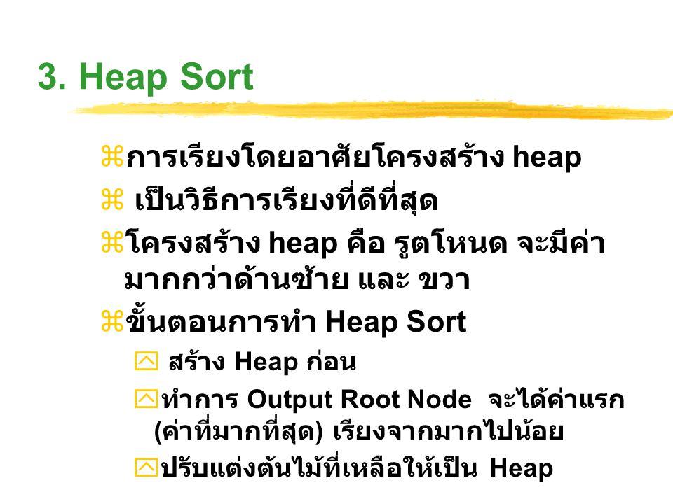 3. Heap Sort  การเรียงโดยอาศัยโครงสร้าง heap  เป็นวิธีการเรียงที่ดีที่สุด  โครงสร้าง heap คือ รูตโหนด จะมีค่า มากกว่าด้านซ้าย และ ขวา  ขั้นตอนการท