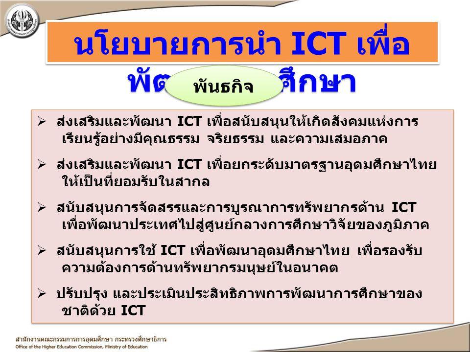 นโยบายการนำ ICT เพื่อ พัฒนาการศึกษา  ส่งเสริมและพัฒนา ICT เพื่อสนับสนุนให้เกิดสังคมแห่งการ เรียนรู้อย่างมีคุณธรรม จริยธรรม และความเสมอภาค  ส่งเสริมแ