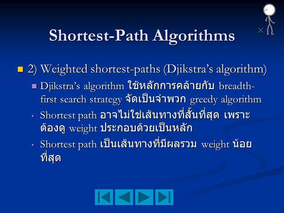 Shortest-Path Algorithms 2) Weighted shortest-paths (Djikstra's algorithm) 2) Weighted shortest-paths (Djikstra's algorithm) Djikstra's algorithm ใช้ห