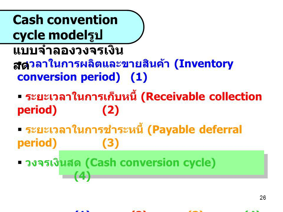 27 Inventory conversion period Payabl e deferr al period Cash Convention Cycle Model รูป แบบจำลองวงจรเงิน สด Receiva ble collecti on period Cash conversion cycle Da ys Receive Raw Materia l Pay Cash for purchased Material Collect account receivab le