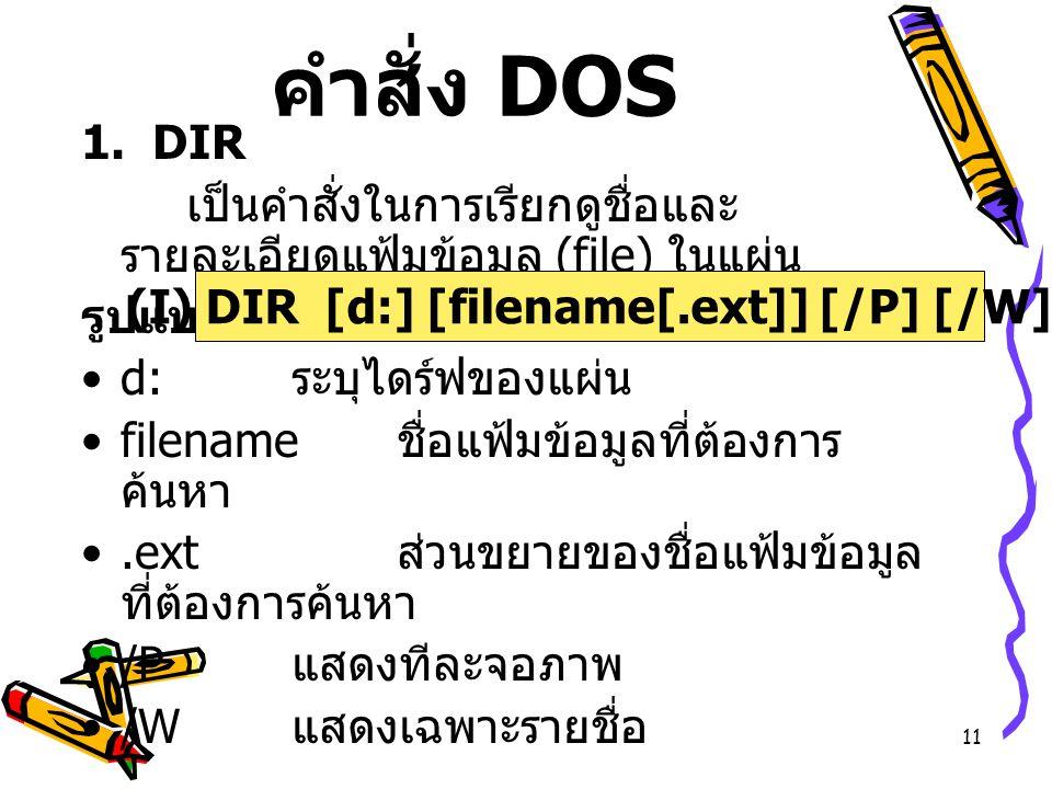 11 คำสั่ง DOS 1. DIR เป็นคำสั่งในการเรียกดูชื่อและ รายละเอียดแฟ้มข้อมูล (file) ในแผ่น รูปแบบ d: ระบุไดร์ฟของแผ่น filename ชื่อแฟ้มข้อมูลที่ต้องการ ค้น
