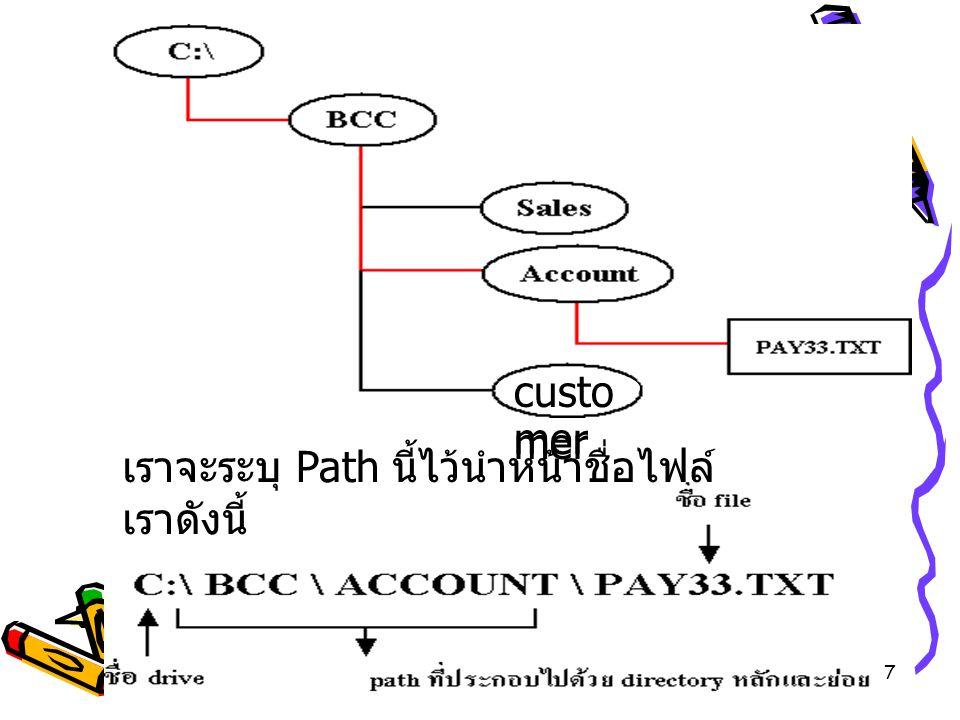 7 เราจะระบุ Path นี้ไว้นำหน้าชื่อไฟล์ เราดังนี้ custo mer