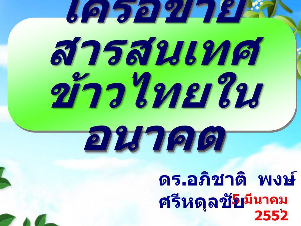 1 5 มีนาคม 2552 ดร. อภิชาติ พงษ์ ศรีหดุลชัย เครือข่าย สารสนเทศ ข้าวไทยใน อนาคต