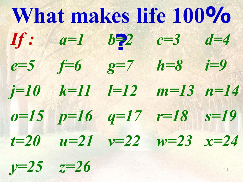 11 What makes life 100% .