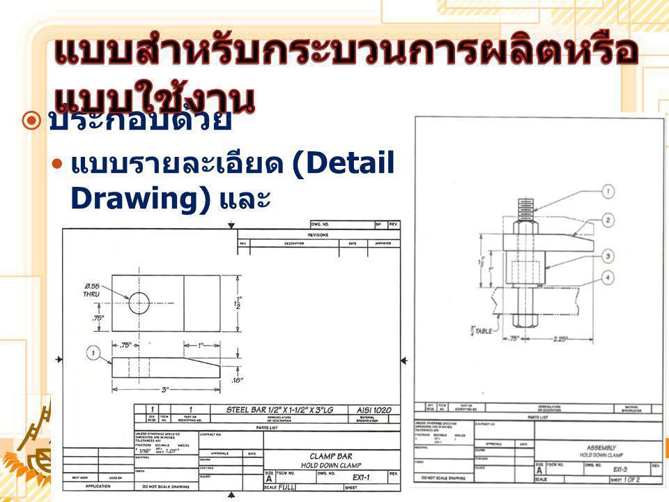  ประกอบด้วย แบบรายละเอียด (Detail Drawing) และ แบบภาพประกอบ (Assembly Drawing)