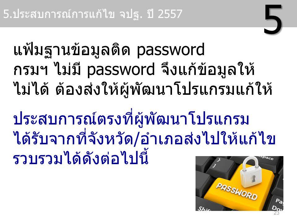 แฟ้มฐานข้อมูลติด password กรมฯ ไม่มี password จึงแก้ข้อมูลให้ ไม่ได้ ต้องส่งให้ผู้พัฒนาโปรแกรมแก้ให้ ประสบการณ์ตรงที่ผู้พัฒนาโปรแกรม ได้รับจากที่จังหว