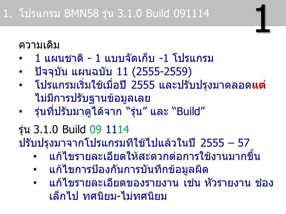 ความเดิม 1 แผนชาติ - 1 แบบจัดเก็บ -1 โปรแกรม ปัจจุบัน แผนฉบับ 11 (2555-2559) โปรแกรมเริ่มใช้เมื่อปี 2555 และปรับปรุงมาตลอดแต่ ไม่มีการปรับฐานข้อมูลเลย
