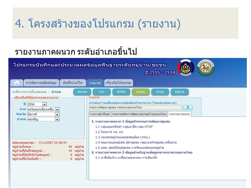 4. โครงสร้างของโปรแกรม (รายงาน) รายงานภาคผนวก ระดับอำเภอขึ้นไป 75