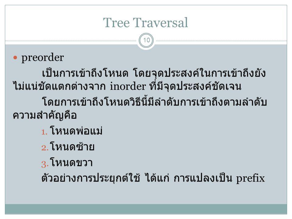 Tree Traversal 10 preorder เป็นการเข้าถึงโหนด โดยจุดประสงค์ในการเข้าถึงยัง ไม่แน่ชัดแตกต่างจาก inorder ที่มีจุดประสงค์ชัดเจน โดยการเข้าถึงโหนดวิธีนี้ม