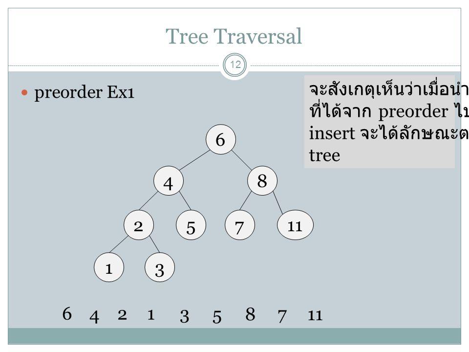 Tree Traversal 12 preorder Ex1 6 48 27115 13 6 4 213 58 7 จะสังเกตุเห็นว่าเมื่อนำข้อมูล ที่ได้จาก preorder ไป insert จะได้ลักษณะตาม tree
