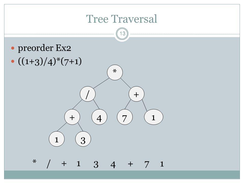 Tree Traversal 13 preorder Ex2 ((1+3)/4)*(7+1) * /+ +714 13 * / +13 4+ 7 1