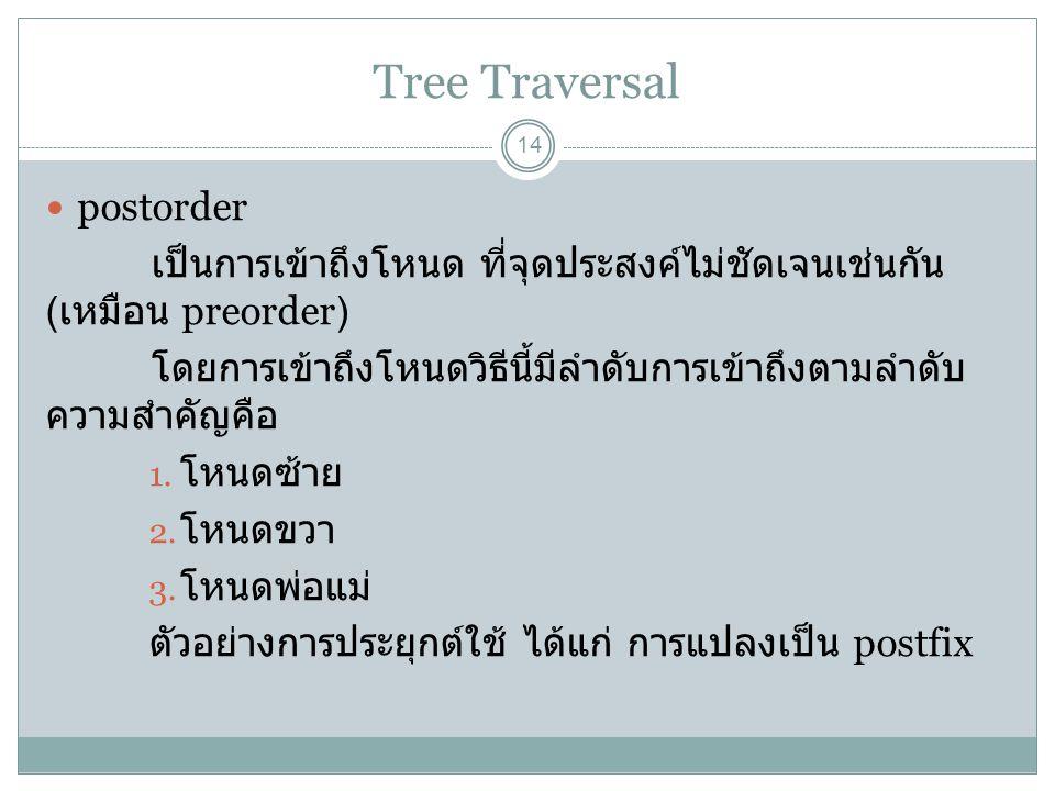 Tree Traversal 14 postorder เป็นการเข้าถึงโหนด ที่จุดประสงค์ไม่ชัดเจนเช่นกัน ( เหมือน preorder) โดยการเข้าถึงโหนดวิธีนี้มีลำดับการเข้าถึงตามลำดับ ความ