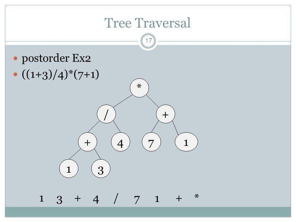 Tree Traversal 17 postorder Ex2 ((1+3)/4)*(7+1) * /+ +714 13 1 3 +4/ 71 + *