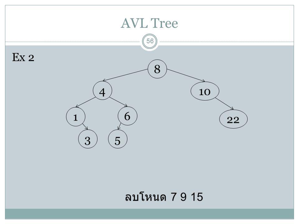 AVL Tree 56 ลบโหนด 7 9 15 8 10 22 4 6 1 53 Ex 2