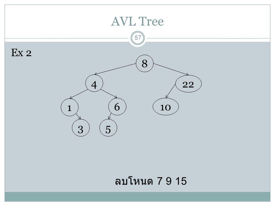 AVL Tree 57 ลบโหนด 7 9 15 8 22 10 4 6 1 53 Ex 2