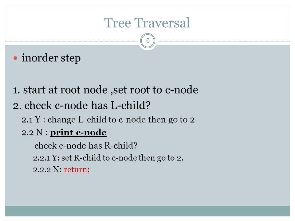 Tree Traversal 7 inorder Ex1 6 48 27115 13 1 2 345 67 8