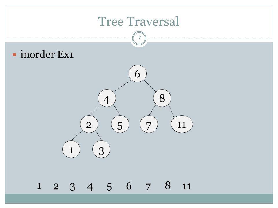 Tree Traversal 8 inorder Ex2 6 49 7 115 4 5 678 9 13 8 จะเห็นว่า inorder เราจะสามารถตอบได้ทันที นั่นคือลำดับน้อยไปหามาก แต่ในการใช้งานจริง (coding) จะไม่เห็นตัวเลข ดังนั้นจึงต้องใช้ อัลกอริทึมดังที่กล่าวมา