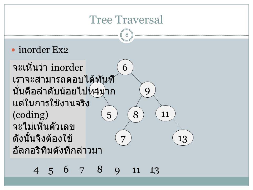 Tree Traversal 8 inorder Ex2 6 49 7 115 4 5 678 9 13 8 จะเห็นว่า inorder เราจะสามารถตอบได้ทันที นั่นคือลำดับน้อยไปหามาก แต่ในการใช้งานจริง (coding) จะ