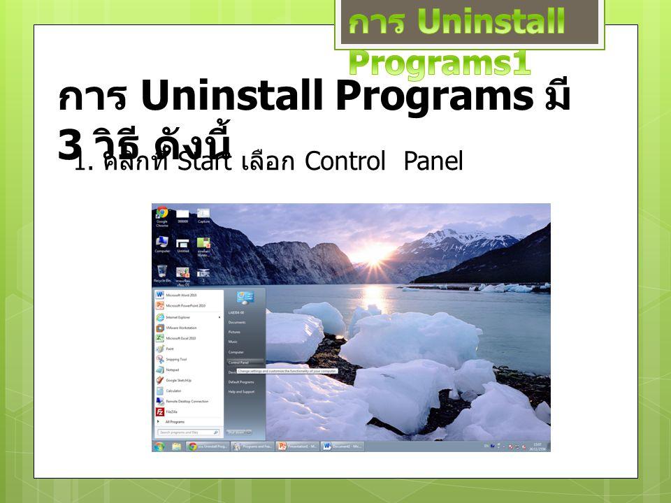 การ Uninstall Programs มี 3 วิธี ดังนี้ 1. คลิกที่ Start เลือก Control Panel