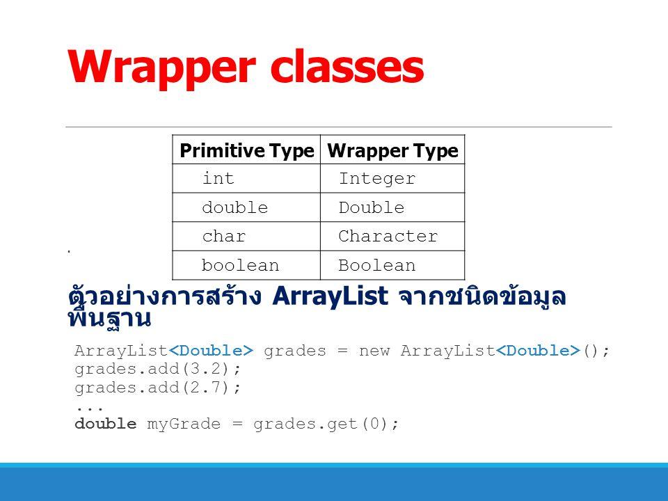 Wrapper classes. ตัวอย่างการสร้าง ArrayList จากชนิดข้อมูล พื้นฐาน ArrayList grades = new ArrayList (); grades.add(3.2); grades.add(2.7);... double myG