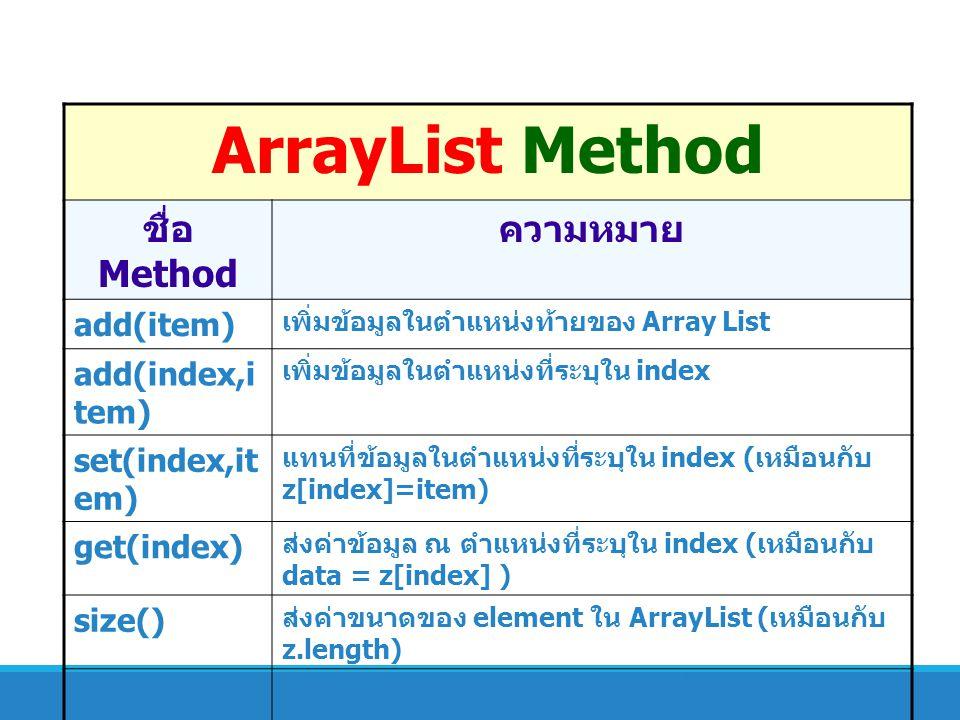 ArrayList Method ชื่อ Method ความหมาย add(item) เพิ่มข้อมูลในตำแหน่งท้ายของ Array List add(index,i tem) เพิ่มข้อมูลในตำแหน่งที่ระบุใน index set(index,
