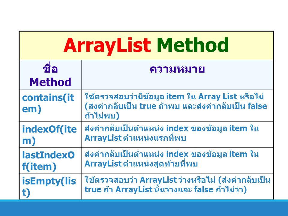 ArrayList Method ชื่อ Method ความหมาย contains(it em) ใช้ตรวจสอบว่ามีข้อมูล item ใน Array List หรือไม่ ( ส่งค่ากลับเป็น true ถ้าพบ และส่งค่ากลับเป็น f