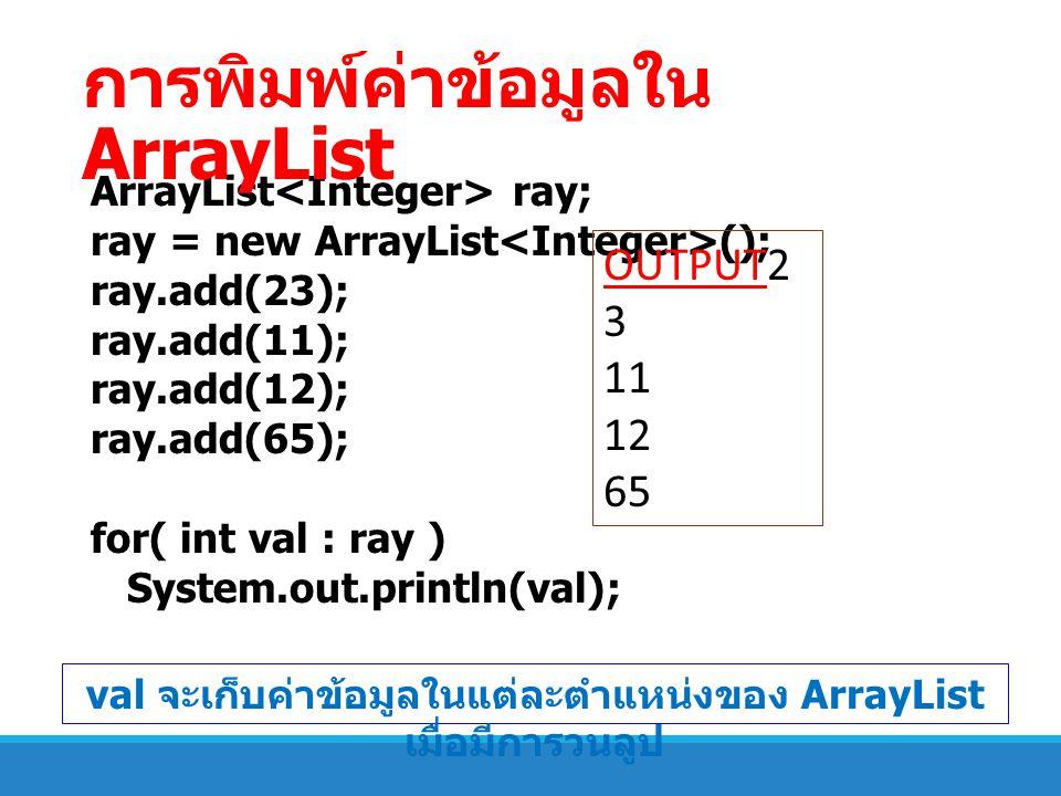 ArrayList ray; ray = new ArrayList (); ray.add(23); ray.add(11); ray.add(12); ray.add(65); for( int val : ray ) System.out.println(val); OUTPUT2 3 11