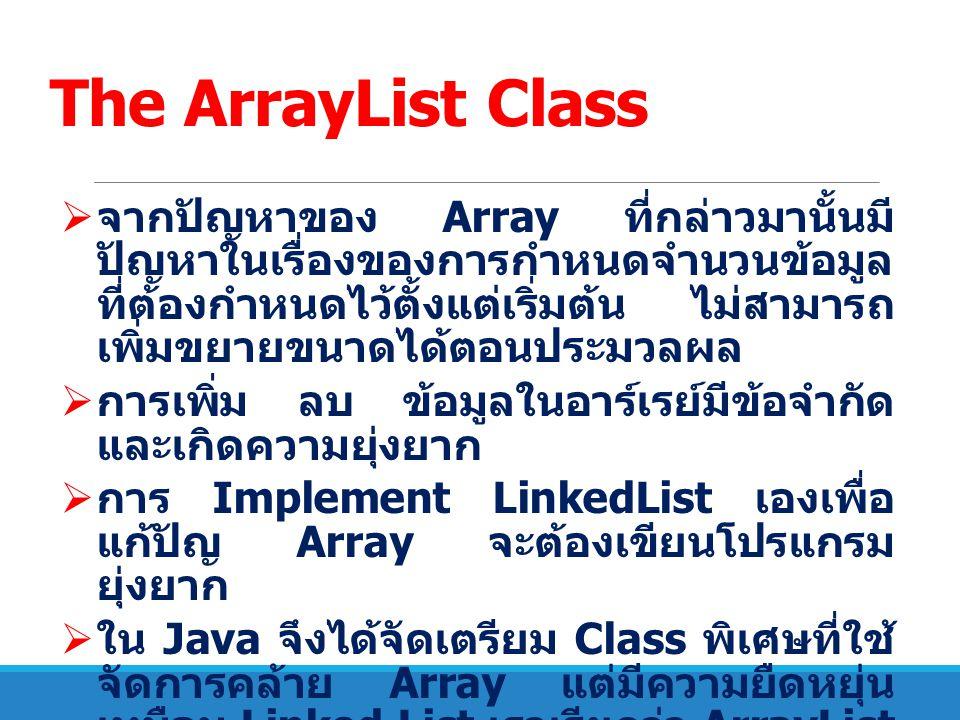 The ArrayList Class  การเรียกใช้จะต้อง import java.uril.ArrayList เข้ามาในโปรแกรม  การประกาศตัวแปรเป็นชนิด ArrayList จะ ใช้ –ArrayList Object = new ArrayList (); – โดยที่ หมายถึงชนิดข้อมูล เช่น String, Int เป็นต้น ตัวอย่าง ArrayList StrList = new ArrayList (); ArrayList Dlist = new ArrayList ();