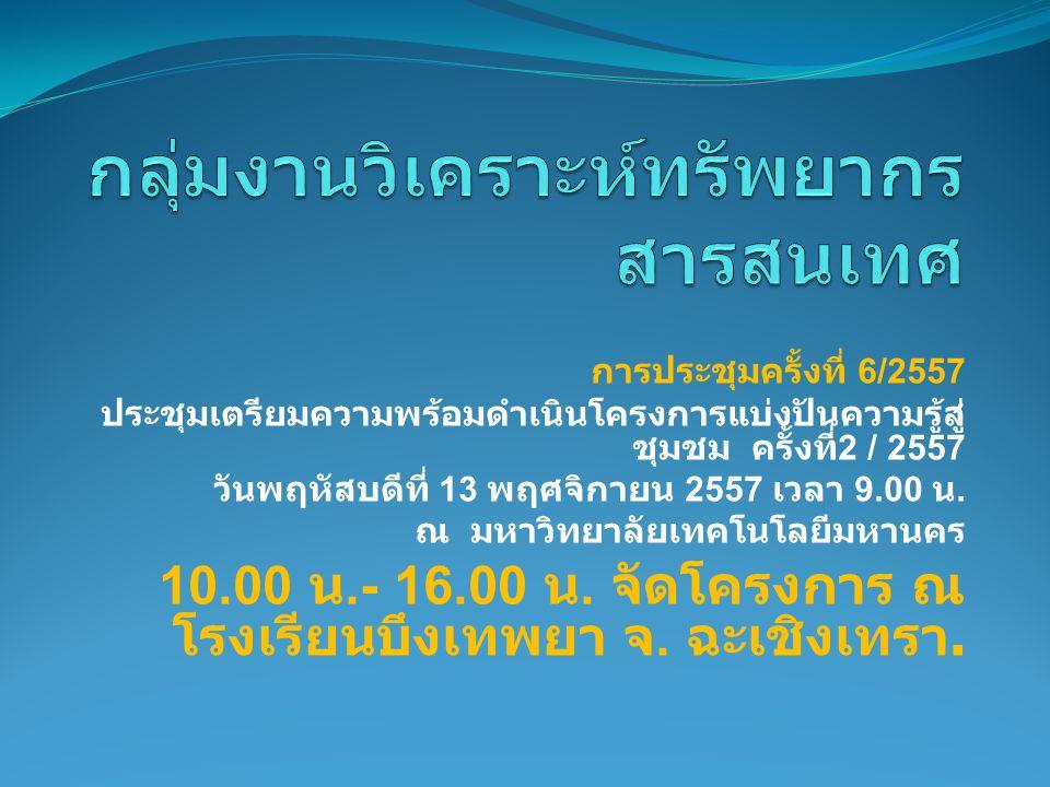 การประชุมครั้งที่ 6/2557 ประชุมเตรียมความพร้อมดำเนินโครงการแบ่งปันความรู้สู่ ชุมชม ครั้งที่ 2 / 2557 วันพฤหัสบดีที่ 13 พฤศจิกายน 2557 เวลา 9.00 น.