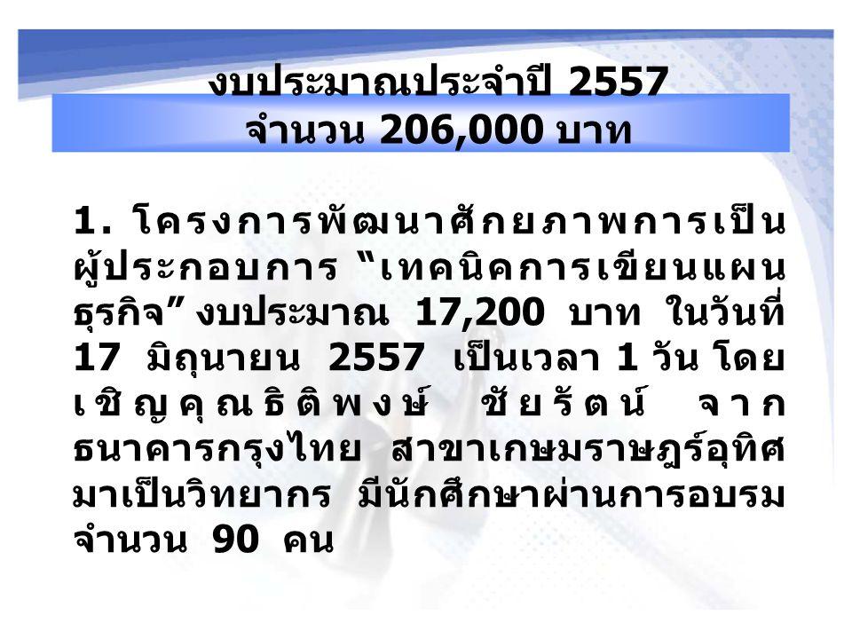 งบประมาณประจำปี 2557 จำนวน 206,000 บาท 1.