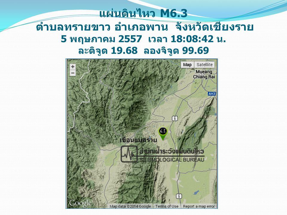 แผ่นดินไหว M6.3 ตำบลทรายขาว อำเภอพาน จังหวัดเชียงราย 5 พฤษภาคม 2557 เวลา 18:08:42 น. ละติจูด 19.68 ลองจิจูด 99.69 เขื่อนแม่สรวย
