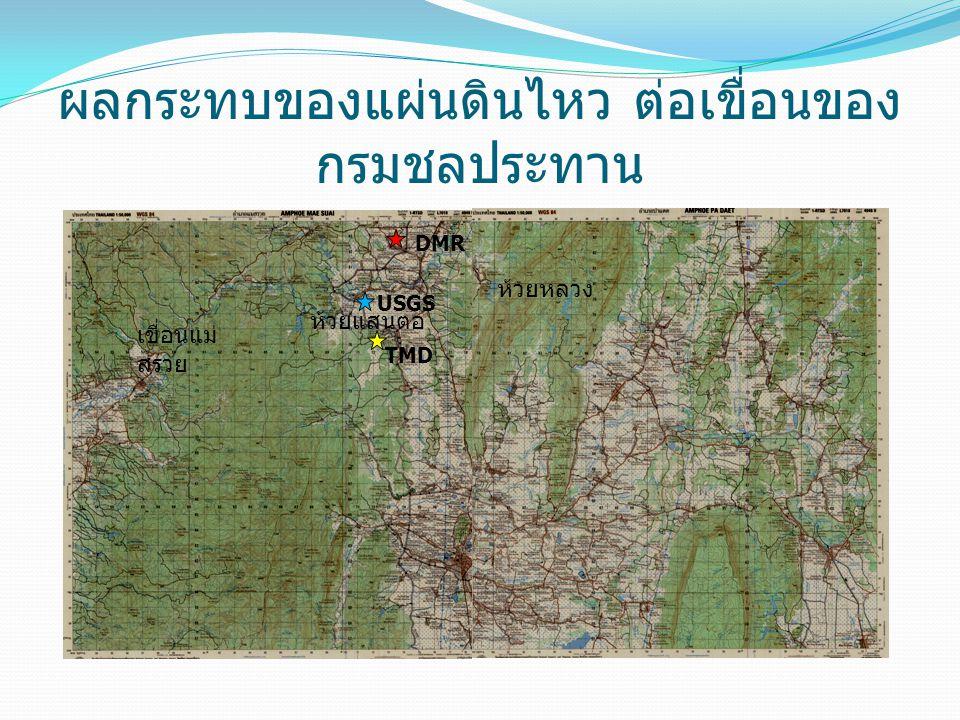 ผลกระทบของแผ่นดินไหว ต่อเขื่อนของ กรมชลประทาน ห้วยหลวง ห้วยแสนตอ เขื่อนแม่ สรวย TMD USGS DMR