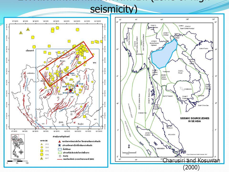บริเวณที่มักมีแผ่นดินไหวเกิดขึ้น (zone of high seismicity) Charusiri and Kosuwan (2000)