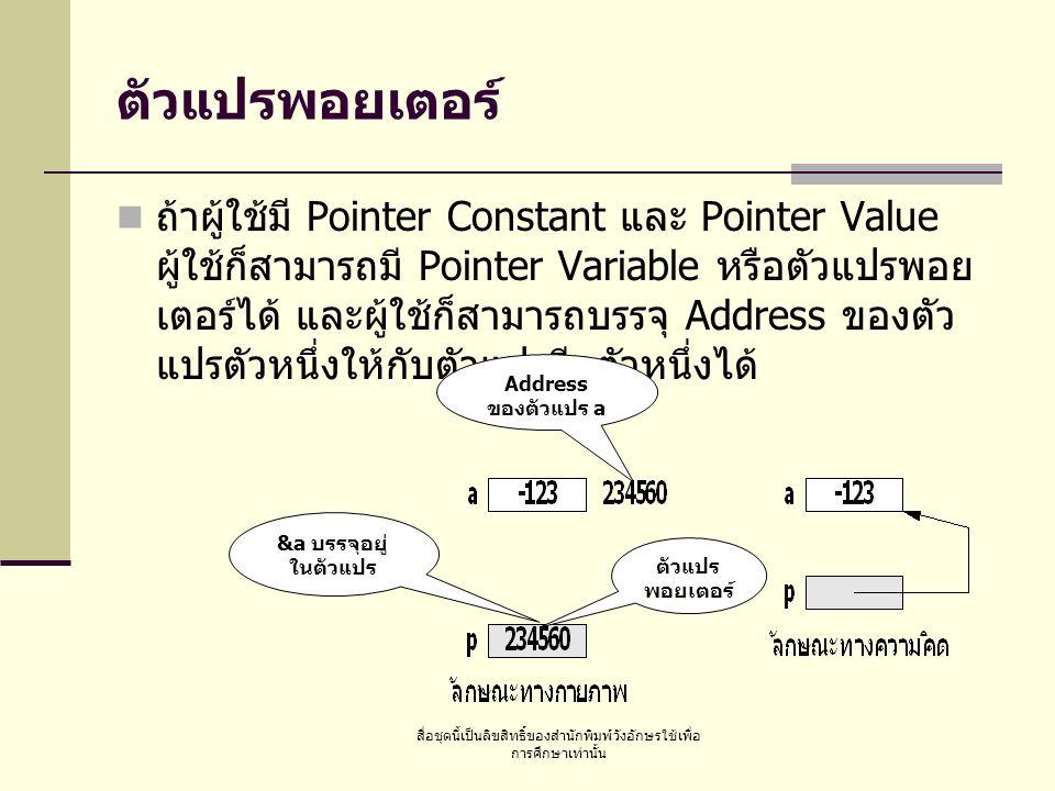 สื่อชุดนี้เป็นลิขสิทธิ์ของสำนักพิมพ์วังอักษรใช้เพื่อ การศึกษาเท่านั้น ตัวแปรพอยเตอร์ ถ้าผู้ใช้มี Pointer Constant และ Pointer Value ผู้ใช้ก็สามารถมี Pointer Variable หรือตัวแปรพอย เตอร์ได้ และผู้ใช้ก็สามารถบรรจุ Address ของตัว แปรตัวหนึ่งให้กับตัวแปรอีกตัวหนึ่งได้ Address ของตัวแปร a &a บรรจุอยู่ ในตัวแปร ตัวแปร พอยเตอร์