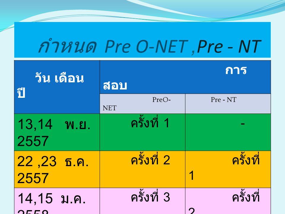 วัตถุประสงค์ Pre O-NET,Pre - NT 1.เตรียมตัวนักเรียนให้คุ้นเคย กับการสอบระดับชาติ 2.