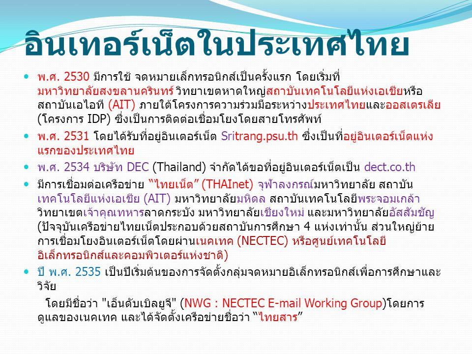 อินเทอร์เน็ตในประเทศไทย พ.ศ. 2530 มีการใช้ จดหมายเล็กทรอนิกส์เป็นครั้งแรก โดยเริ่มที่ มหาวิทยาลัยสงขลานครินทร์ วิทยาเขตหาดใหญ่สถาบันเทคโนโลยีแห่งเอเชี