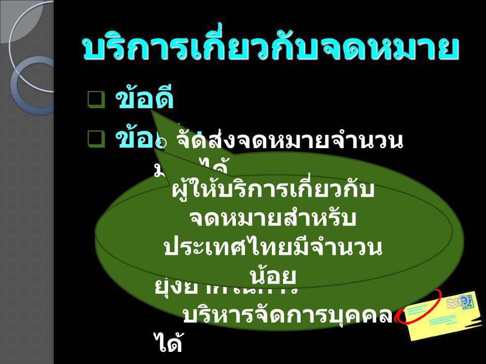 บริการเกี่ยวกับจดหมาย  ข้อดี  ข้อเสีย o จัดส่งจดหมายจำนวน มากได้ ด้วยความสะดวก รวดเร็ว o สามารถลดความ ยุ่งยากในการ บริหารจัดการบุคคล ได้ ผู้ให้บริการเกี่ยวกับ จดหมายสำหรับ ประเทศไทยมีจำนวน น้อย