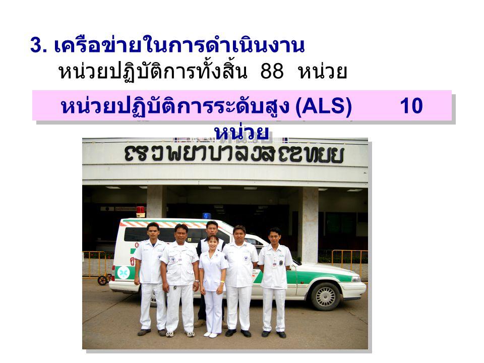 3. เครือข่ายในการดำเนินงาน หน่วยปฏิบัติการทั้งสิ้น 88 หน่วย หน่วยปฏิบัติการระดับสูง (ALS) 10 หน่วย